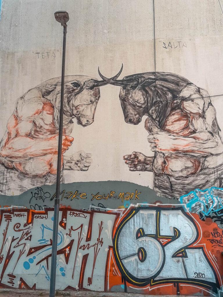 """Mural """"Teta y Salta"""" de Franco Fasoli, ubicado en Matienzo y Crámer"""