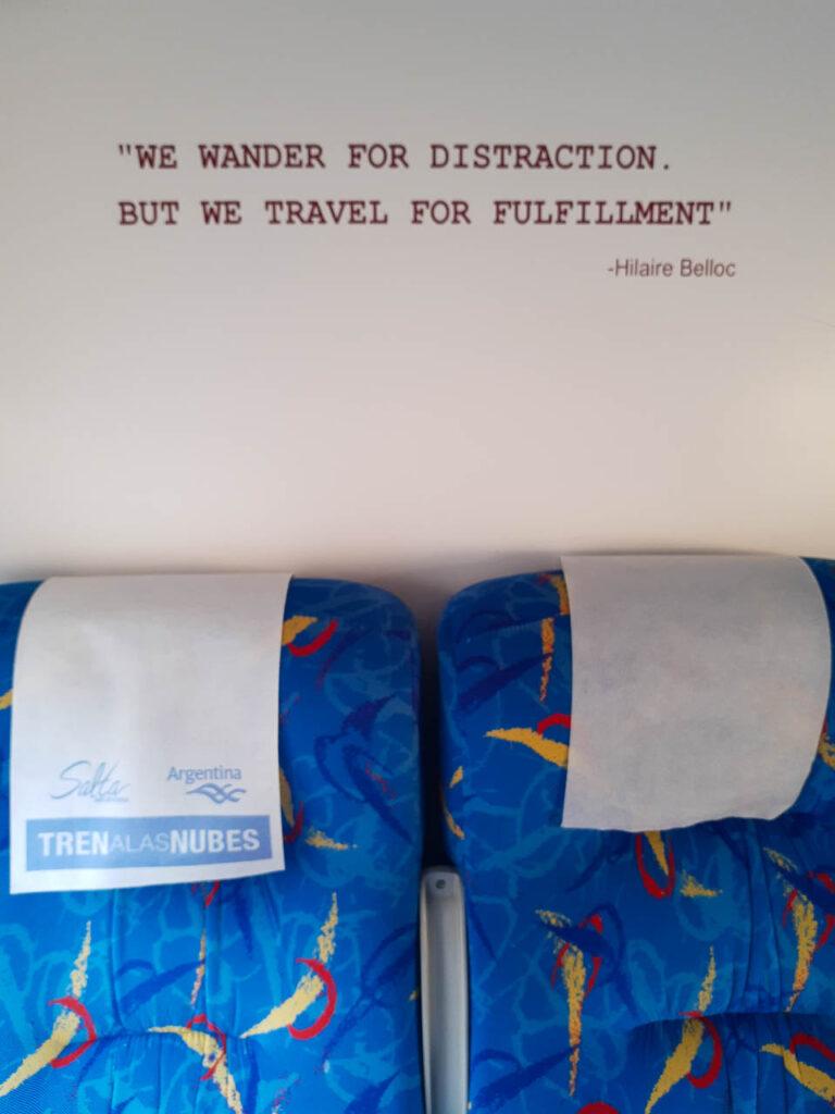 Interior del tren a las nubes, inspiración pura